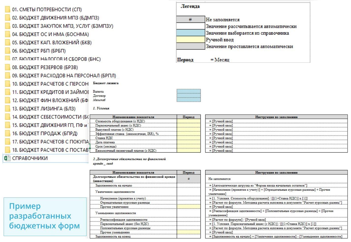 Пример разработанных бюджетных форм: