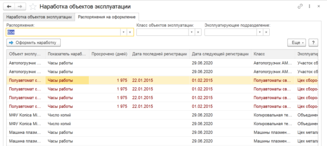 Регистрация наработок объектов эксплуатации (в специализированном АРМ)