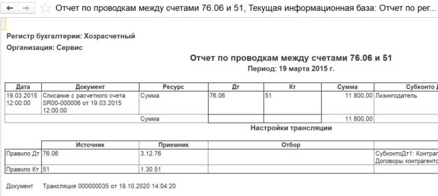 Отчет по проводкам между счетами